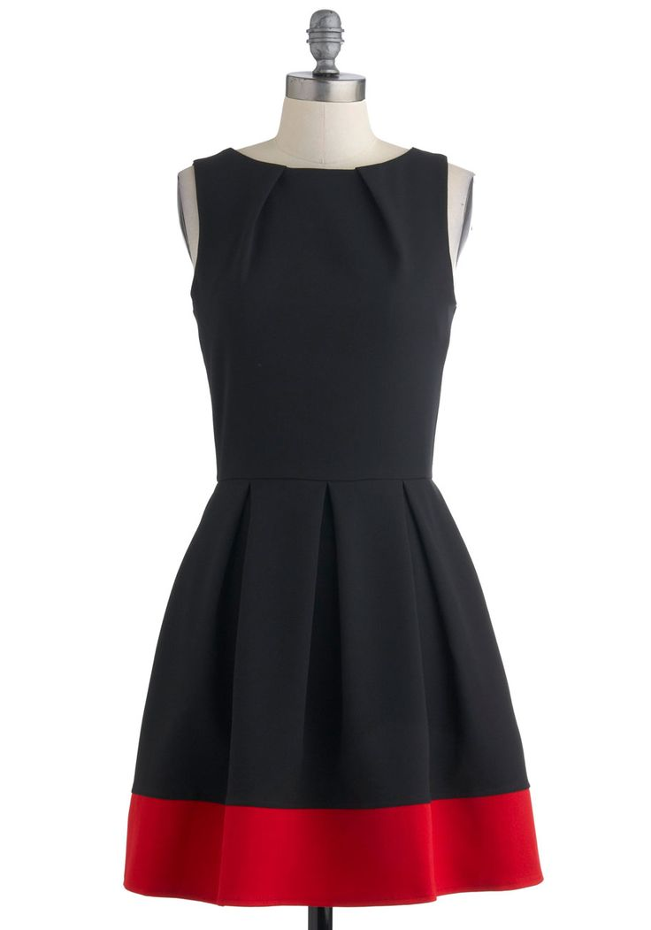 Audrey's Top of the A-line Dress in Black - Black, Red, Pleats, Sleeveless, Fit & Flare, Work, Vintage Inspired, Mid-length