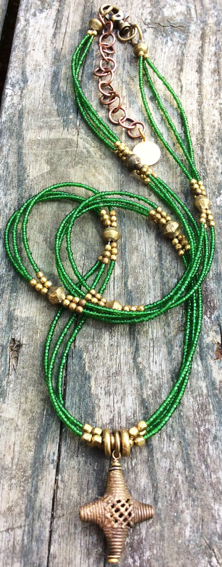Long Green Glass and African Brass Necklace $175 contact me to purchase kelly@xogallery.com I could create this style in any color!