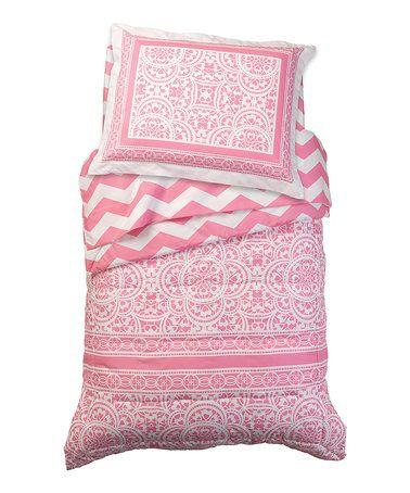 Look what I found on #zulily! Pink Chevron Four-Piece Bedding Set #zulilyfinds