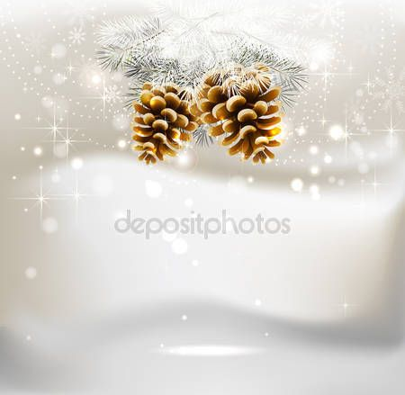 Свет Рождественский фон с двух конусов и ель — стоковая иллюстрация #11917574