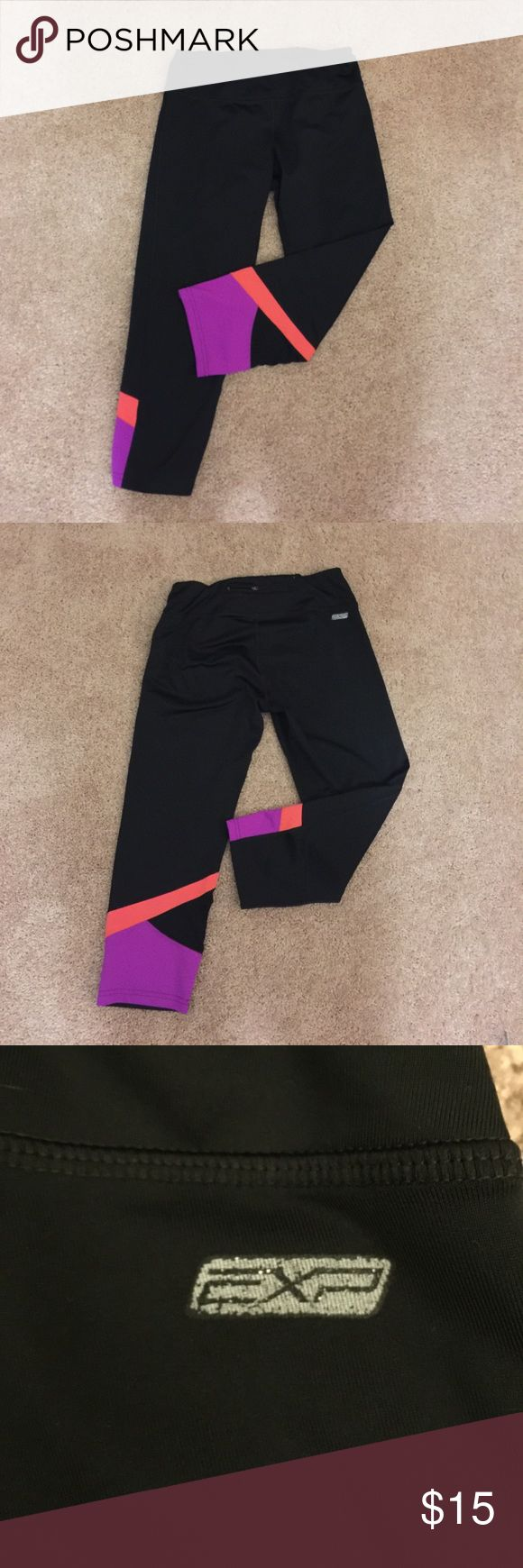 """Express Experience Core Athletic Capris Black gym capris with bright colorblocking at calf area. Small back zippered pocket . 20.5"""" inseam. Express Pants Capris"""