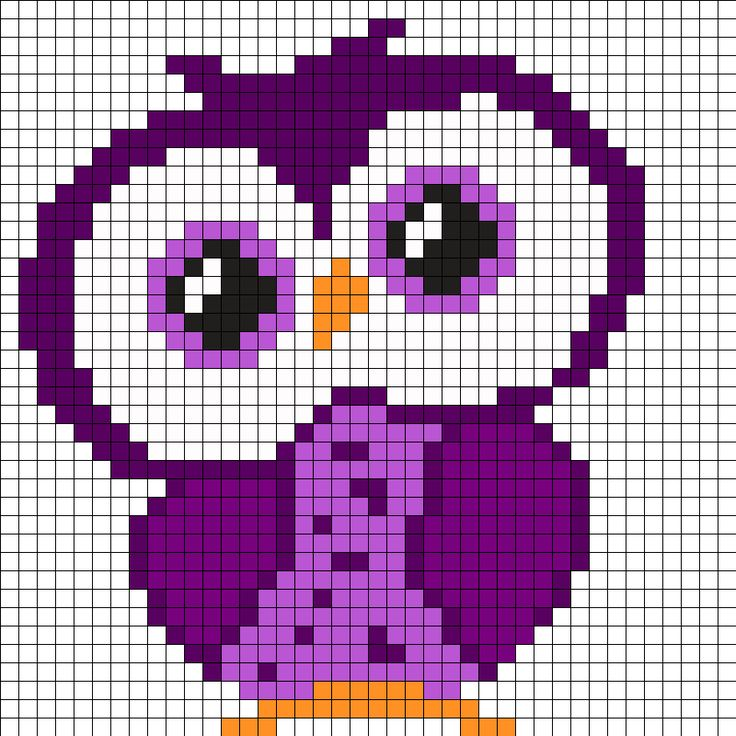 Purple Owl Perler Bead Pattern                                                                                                                                                     More