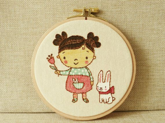 Embroidery Wall Art Baby Room Embroidery Art by happyfacecraft