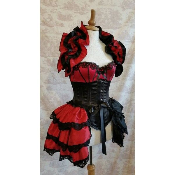 Plus Size HARLEY QUINN Cosplay Taffeta Costume Bustle By Gothic... ❤ liked on Polyvore featuring costumes, plus size cosplay costumes, red shrug cardigan, cosplay costumes, plus size costumes and burlesque costumes