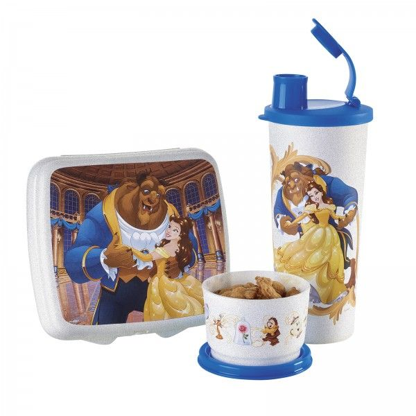 Tupperware Disney's Beauty and the Beast Lunch Set:           Be our guest to a magical lunchtime solution. Includes Sandwich Keeper, Snack Cup and 16-oz./470 mL tumbler with liquid-tight seal and flip-top cap.       Pearl Oyster/Pure Blue   Artwork not covered by Limited Lifetime Warranty        Item:10129464000