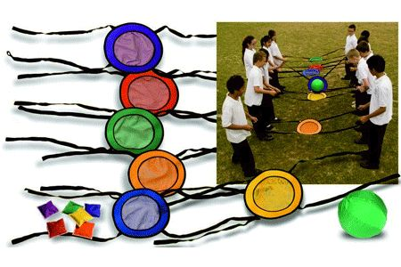 Catch and Balance Bands - This fun group set is ideal for aiding hand to eye coordination skills, dexterity, and is great for encouraging team work skills. Working as part of a team, the first 2 children balance and pass the ball from their set of balancing bands to the next. Supplied with 6 balancing bands, 1 ball, bean bags, and suitable for up to 13 children.