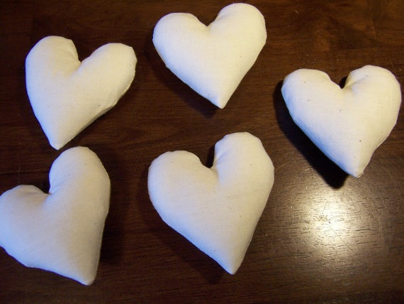 Shoply.com -5 Unfinished muslin HEART blank bowl filler pillow. Only $12.00