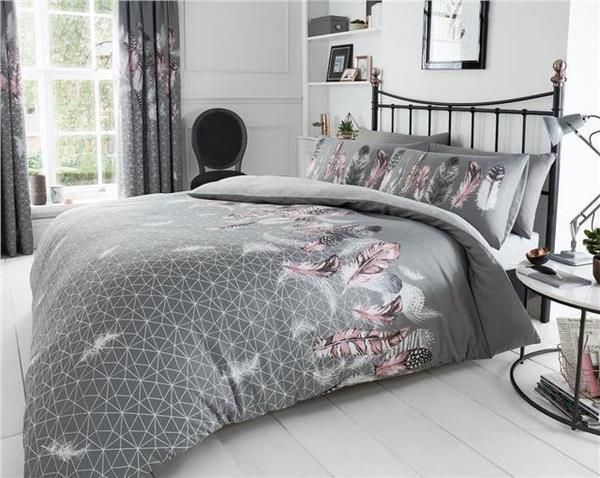 Beautiful Bedding Set Grey Color With Feathers Pink Accents Pink Gray Bed Sheets Bedroom Design Decor Bed Linens Luxury Bedding Sets Grey Bedding Sets