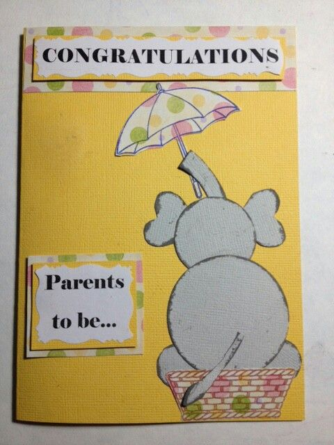 Hand made card elephant baby shower