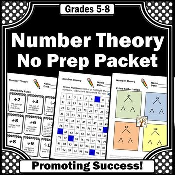 Number Theory No Prep Worksheets for 6th Grade Common Core Math