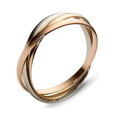 Тройное Обручальное кольцо-картье из комбинированного золота, Производство: Россия, цена снижена на 5%..