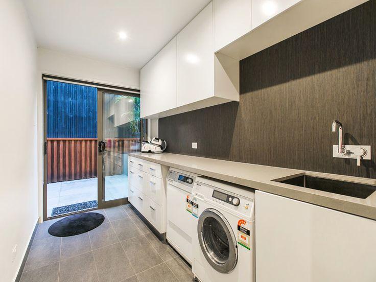 Strickland Drive |  Laundry | Allure Oak Laminex | Wood backsplash | Charcoal tiles