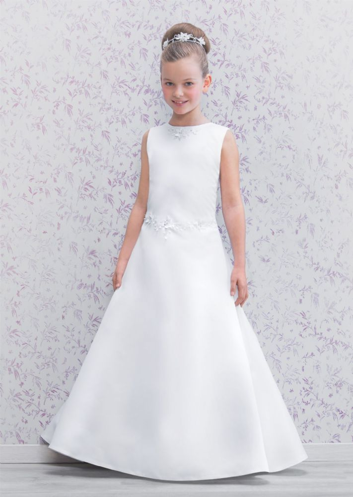 First Communion Dress - Emmerling 70161 - NEW 2016 - Modern Full Length Satin A line Communion Dress -  Age 6 , 7, 8, 9, 10, 11 years - Girls 1st Holy Communion Dress - White Holy Communion Gown