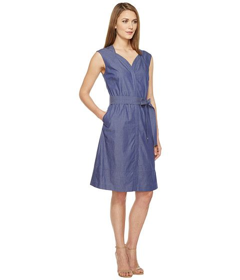 Ellen Tracy Belted Dress Chambray - 6pm.com