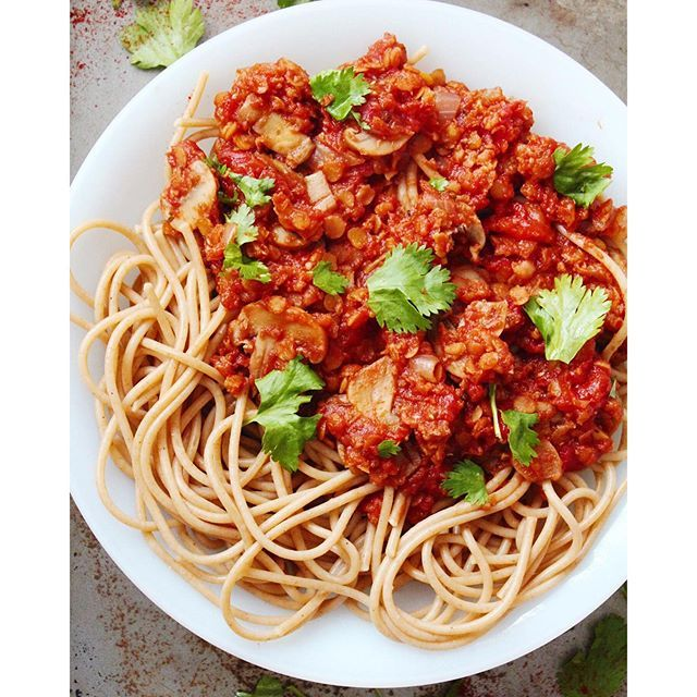 Lentil Bolognese. Get this and 50+ more Vegan recipes at https://feedfeed.info/our-favorite-vegan-recipes