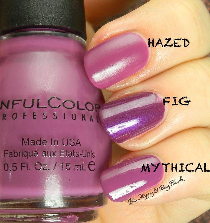 Sinful Colors Hazed compared to Sinful Colors Fig, Mythical | Be Happy And Buy Polish http://behappyandbuypolish.com/2015/08/04/sinful-colors-a-class-act-nail-polishes-comparison-post/