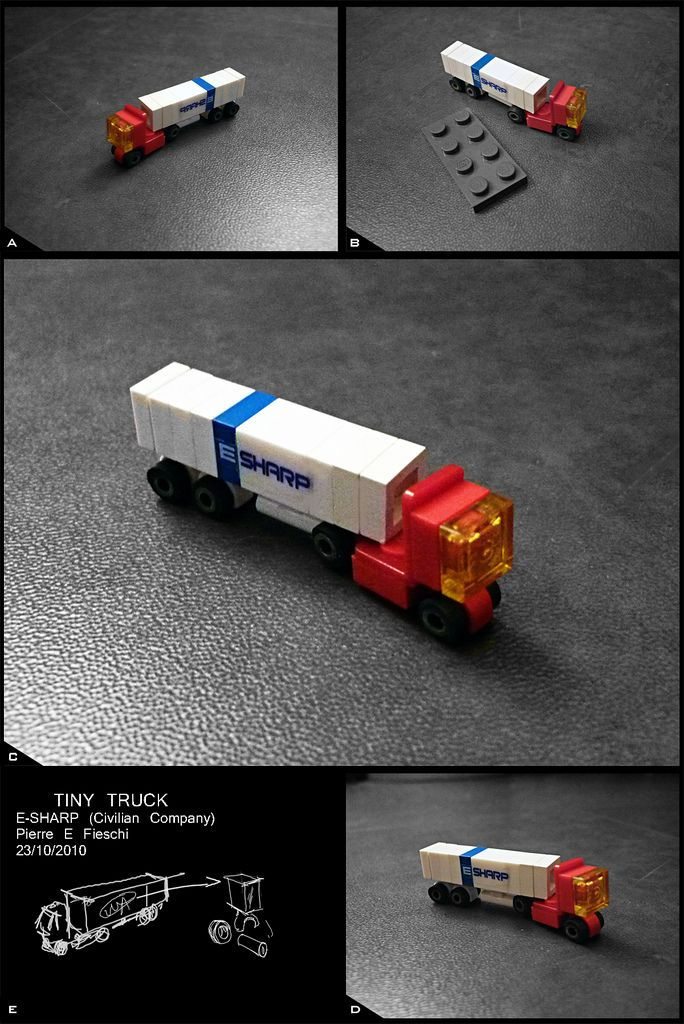 Teeny tiny Lego truck from the flickr photostream of Pierre E Fieschi.