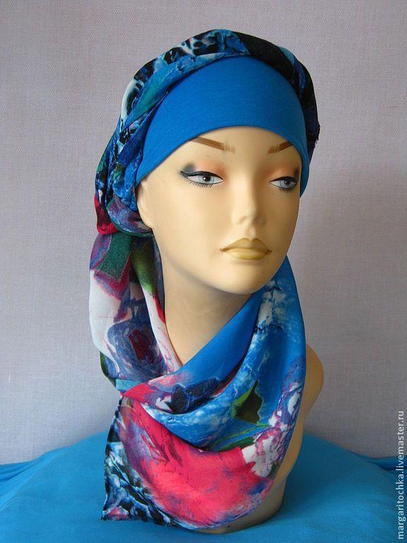 """Купить """"Круиз"""" - 04 пляжный головной убор хиджаб - голубой, чалма, тюрбан, пляжная мода"""