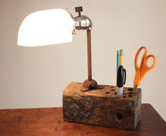Industrial desk organizer reclaimed wood lamp by OBJECTSofINDUSTRY