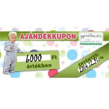 6000Ft értékű ajándékkupon.  http://www.gyerekhacuka.hu/index.php/online-store/276/5/ajandekutalvany/ajandekkupon-6000-ft-detail