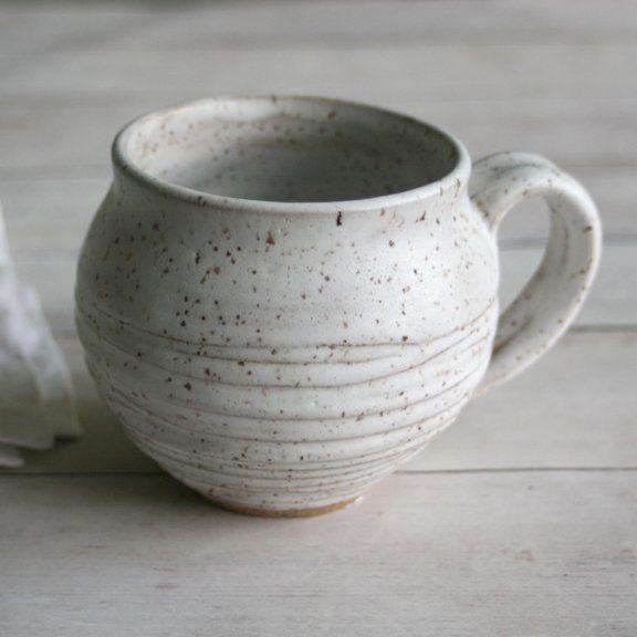 Carved Speckled White Ceramic Jar