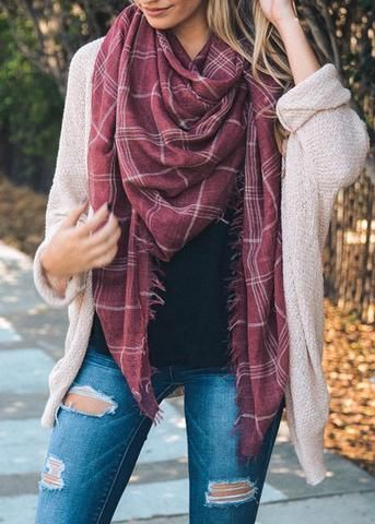 "Lightweight off washed red plaid blanket scarf with fringe edge. Free shipping on every order! 59""inches x 59"" inches 100% Polyester"