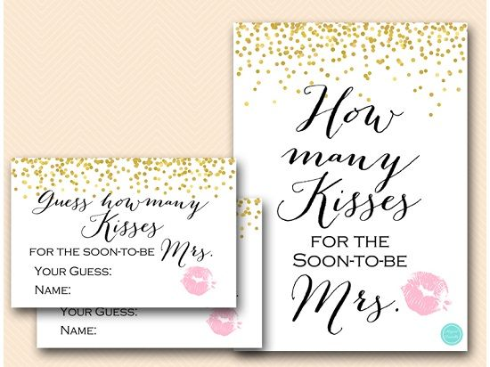 photograph about Guess How Many Kisses for the Soon to Be Mrs Free Printable identify Gold How quite a few kisses for Shortly toward be Mrs Favorites Bridal