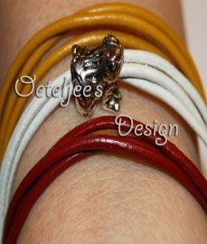 Armband Oeteldonk rood wit geel leer met pandora kikker kraal