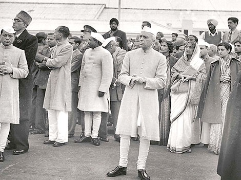 Hindustan Times  26-Jan  Sheikh Abdullah of Kashmir, Prime Minister Jawaharlal Nehru (third from left), Health Minister Rajkumari Amrit Kaur and Indira Gandhi at India's first Republic Day Parade.