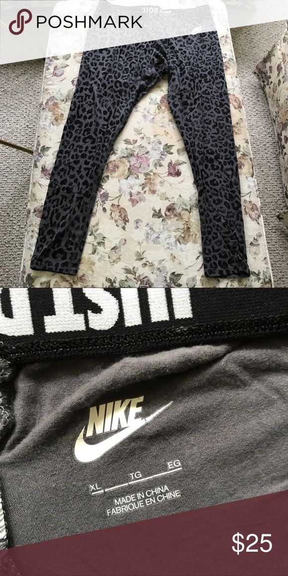Nike Leopard Print Athletic Leggings Size XL Nike black and gray leopard print athletic pants in size XL. These were only worn a handful of times and are in great condition. Nike Pants Leggings