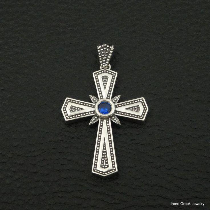 RARE BLUE SAPPHIRE CZ BYZANTINE STYLE 925 STERLING SILVER GREEK HANDMADE CROSS #IreneGreekJewelry #Pendant