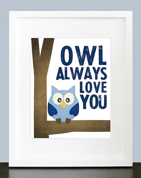 Owl Always Love You  Wall Art  8x10 Baby Nursery by mateoandtobias, $16.00
