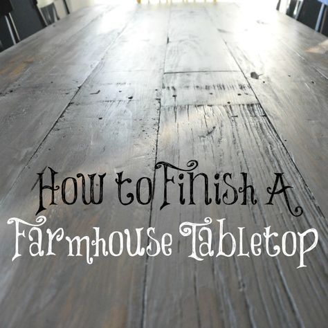 "Today I'd like to share with you how to finish a farmhouse tabletop. You're probably wondering ""How long can this chick drag on this farmhouse table project that we've only seen bits and pieces of?"" Valid question. The answer is FOR-EVAH. Or until Monday. Whichever comes first. Patience is a virtue (of which I don't possess.) And the sun has refused to shine in Iowa for like 2 weeks. Weak, Iowa. Weak. (There are a few sunbeams in these photos but it was pretty late in the day.)..."