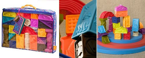 B.Toys Elemenosqueeze Soft Blocks - UrbanBaby