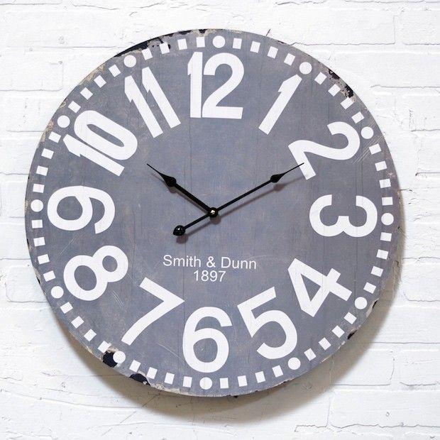 Grey Round Wood Wall Clock