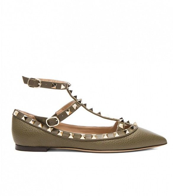 Valentino Stamped Rockstud Cage Flats ($995)