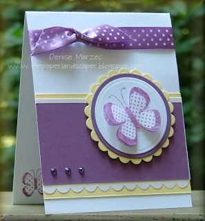 Handmade Cards:  Butterfly note cards  ... white and purple with touches of yellow ... like the card design ..