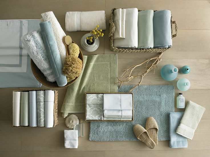 To bring a sense of calm to any room, layer soft colors such as greens and blues in a mix of subtle patterns and solids.