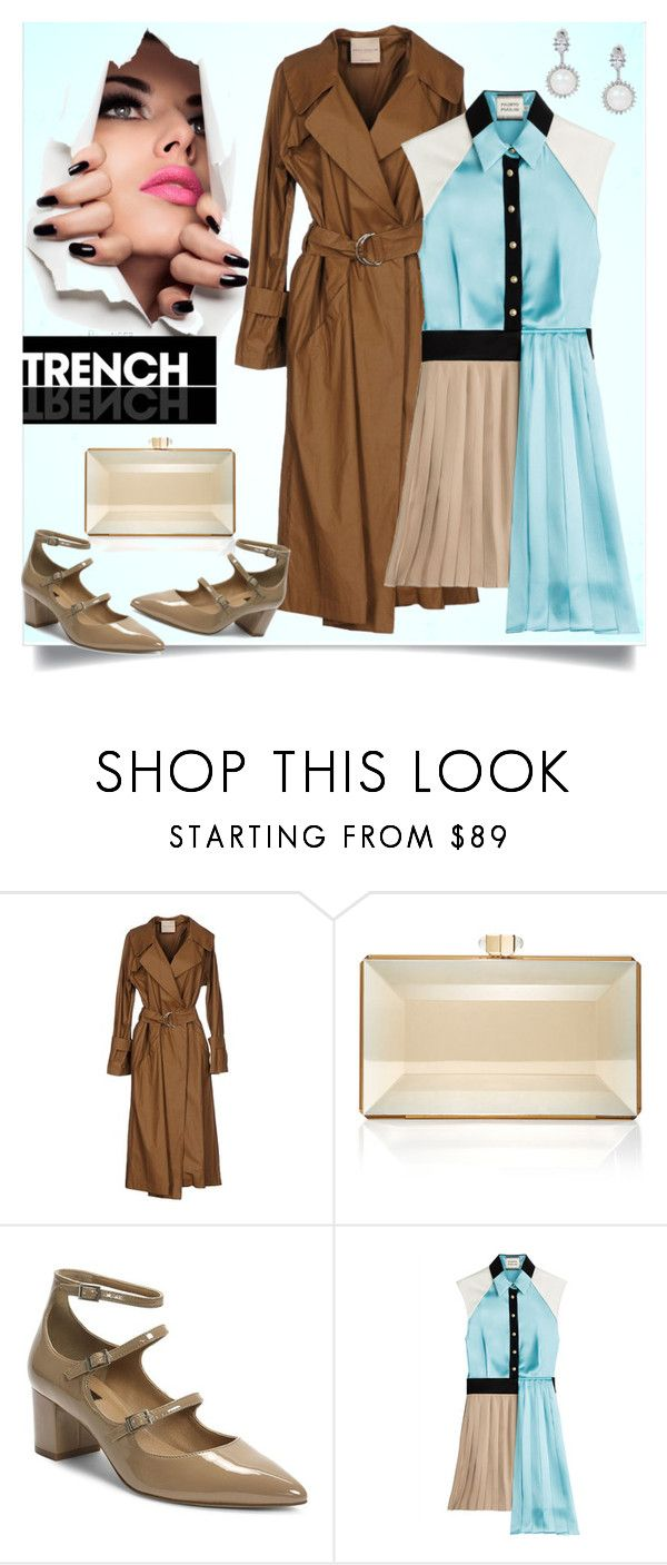 """""""Brown Trench Coat"""" by ladygroovenyc ❤ liked on Polyvore featuring Erika Cavallini Semi-Couture, Judith Leiber, Tahari, FAUSTO PUGLISI, trenchcoat and Spring2017"""