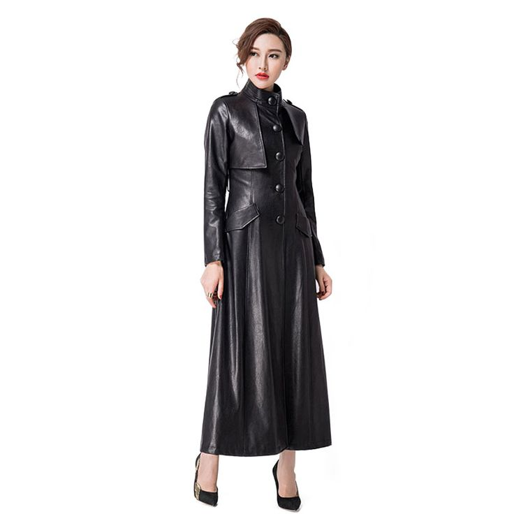 Women Long PU Leather Coats 2016 Autumn Winter Plus Size S-XXXL Stand Collar Single Breasted Trench Coats RS391