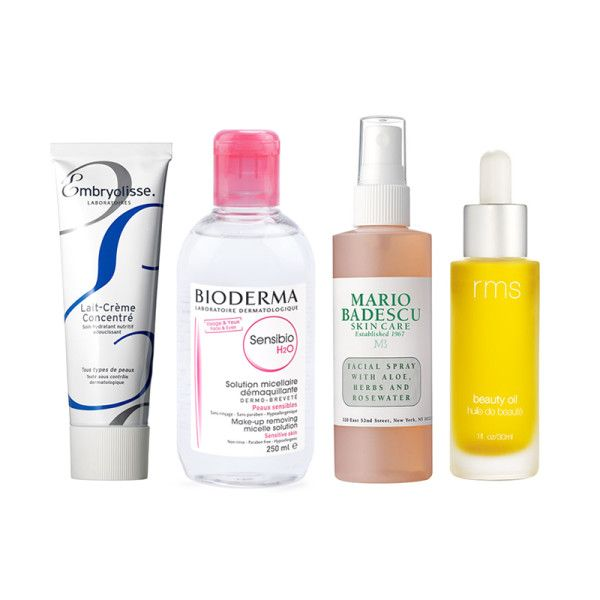 """""""I use Bioderma Créaline H20 to clean my face after shooting or walking around New York all day, and Mario Badescu Facial Spray with aloe and herbs as a toner, or for a quick skin refresh throughout the day or on the plane. For moisturizing, I love Lait-Creme Concentre by Embryolisse for a nourishing hydrator, and I also love using RMS Beauty Oil on my skin at night for some extra love during fashion week."""""""