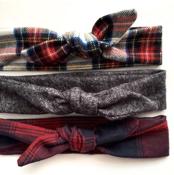 Plaid Tie Knot // flannel knit // red // navy by jumpingjackjack