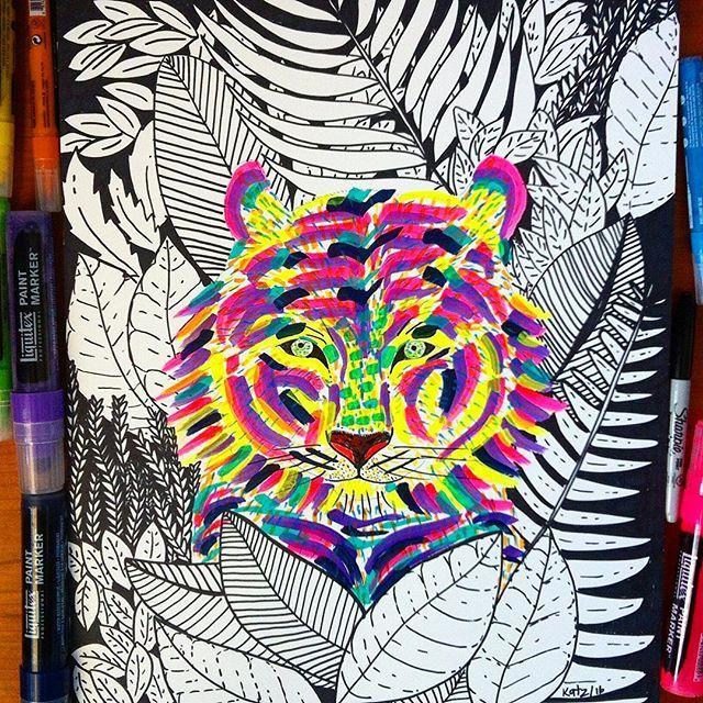 Tigre de la selva tropical #ilustracion #illustration #animal #animalillustration #ilustracionanimal #color #tropical #jungle #selva #tigre #tiger #liquitex #liquitexmarker #sharpie #laart #laartist #bogotart #bogoartistascomparte #katzferoz  #artwork #artcollective #instart #instaartist #canson #cansonpaper #liquitexpaintmakers #bewild #feroz #artgallery #artsharela