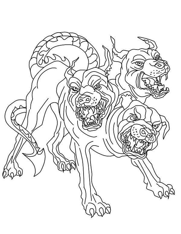 Cerberus Greek Mythology line art Bing images Coloring pages