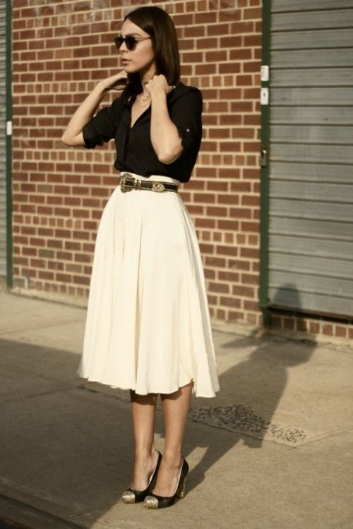 cap toe pumps, midi white skirt, black belt with hardware, simple black blouse, black shades, simple hair.