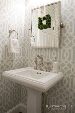 so cute for half bath    Traditional Home Dining Room Wallpaper Design, Pictures, Remodel, Decor and Ideas - page 5