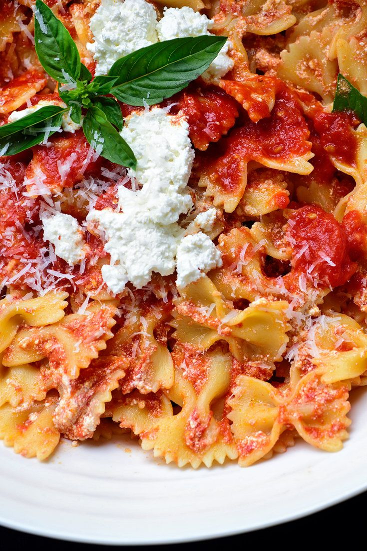 NYT Cooking: This wonderful pasta is made with nothing more than fresh tomato sauce and good ricotta, plus a little pecorino. It's most delicious if you keep the pasta quite al dente; use just enough sauce, no more; give it a good pinch of crushed red pepper; and season it with enough salt of course. For the best results, use good quality imported noodles made from hard Durum wheat.