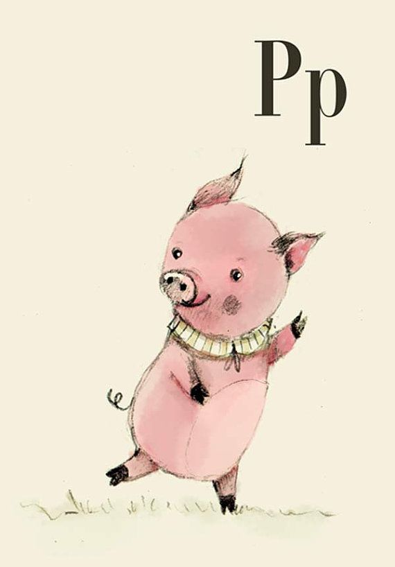 Р для свиней - 6x8 - алфавит искусство - буквы алфавита - Детские зоопарк Животные - сафари Детский - Детский искусство - Детский декора - Baby Animals