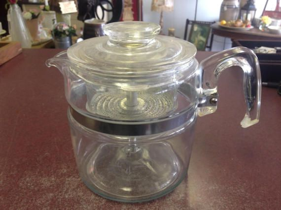 Vintage Pyrex 7756-B 6 Cup Coffee Percolator by PickeryPlace