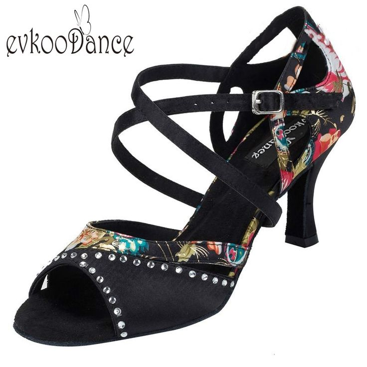34.43$  Buy here - http://aligza.shopchina.info/1/go.php?t=32807518735 - Flower With Rhinestone Size US 4-12 Zapatos De Baile Latino Heel Height 7cm Professional Satin Latin Dance Shoes Women NL113 34.43$ #magazineonlinebeautiful